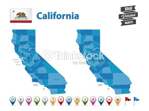 California Map Icon.California High Detailed Map With Gps Icon Collection Vector Art