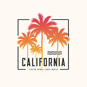 California Ocean Avenue tee print with palm trees, t shirt design, typography, poster, vector illustration.