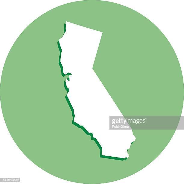 California Round Map Icon