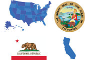 Vector illustration of California state, contains: