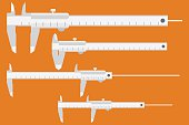 Caliper icon. Measuring instrument engineer, architect, technician. Vector illustration, flat design style. Set of calipers, for different sizes of parts. Measurement tool. Vernier