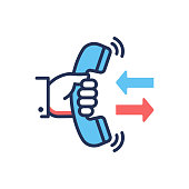 Call Back - modern vector single line design icon. An image of a hand holding a phone, two arrows, blue and red colors, white background. Support service presentation.