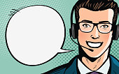 Call center, customer support, helpdesk or service concept. Man with headset. Pop art retro comic style. Cartoon vector