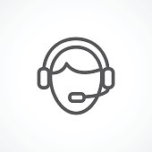 Call center line icon on white background