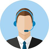 Call center operator icon. Man with a headset. Customer support. Client services and communication, phone assistance. Web icon, flat style illustration.