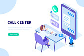 Customer support concept. Can use for web banner, infographics, hero images. Flat isometric vector illustration isolated on white background.
