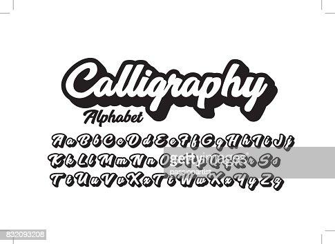 Calligraphic alphabet : stock vector