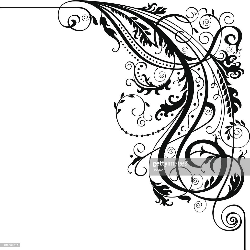 Calligraphic corner vector art getty images