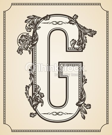 Calligraphic Design Font With Typographic Floral Elements Letter G Vector Art