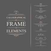 Vector calligraphic frame elements. Decorative elements. Eps10