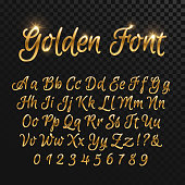 Calligraphic golden letters. Vintage elegant gold font. Luxury vector script. Golden alphabet calligraphic, calligraphy abc gold script illustration