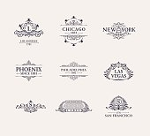 Calligraphic Luxury line icon set. Flourishes black frame. Emblem monogram. Royal vintage design. Black symbol decor for menu card, invitation label, Restaurant, Cafe, Hotel. Vector line illustration