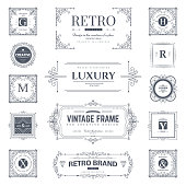 Collection of vintage flourishes calligraphic ornaments and frames. Retro style of design elements, decorations for postcard, banners. Vector template