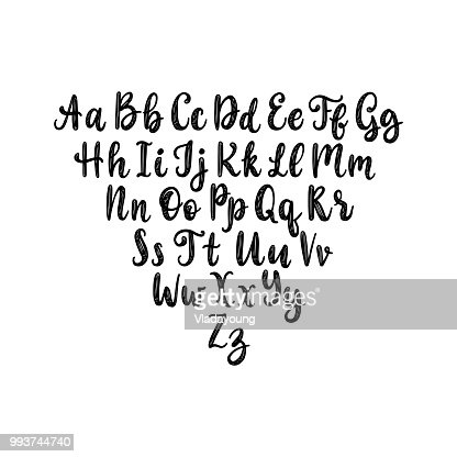 Calligraphic straight font letters on white background.Vector hand lettering alphabet. : stock vector