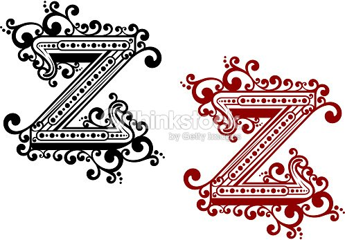 Calligraphic Uppercase Letter Z With Flourishes Vector Art
