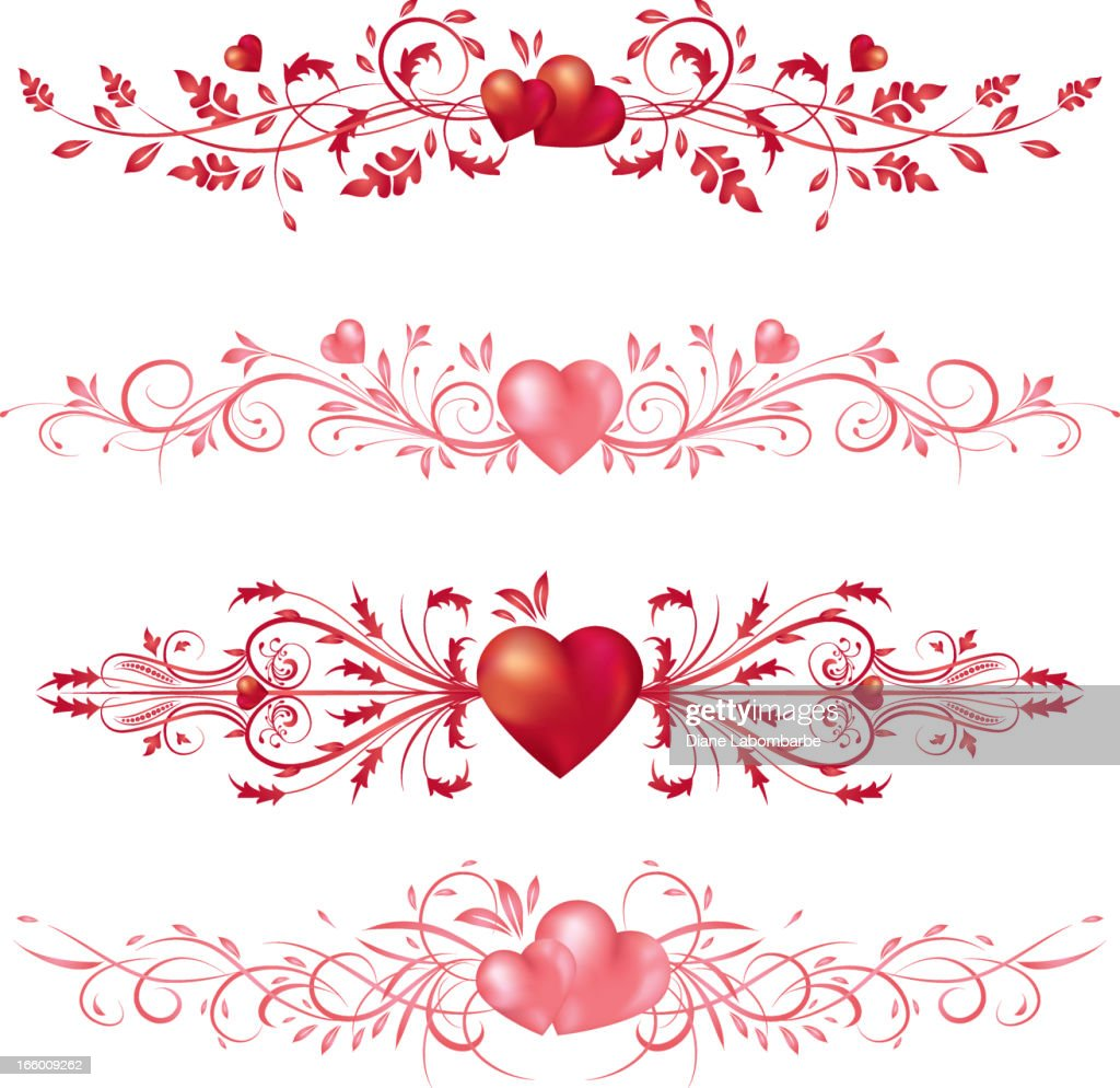 calligraphic valentines day hearts scrolls vector art getty images