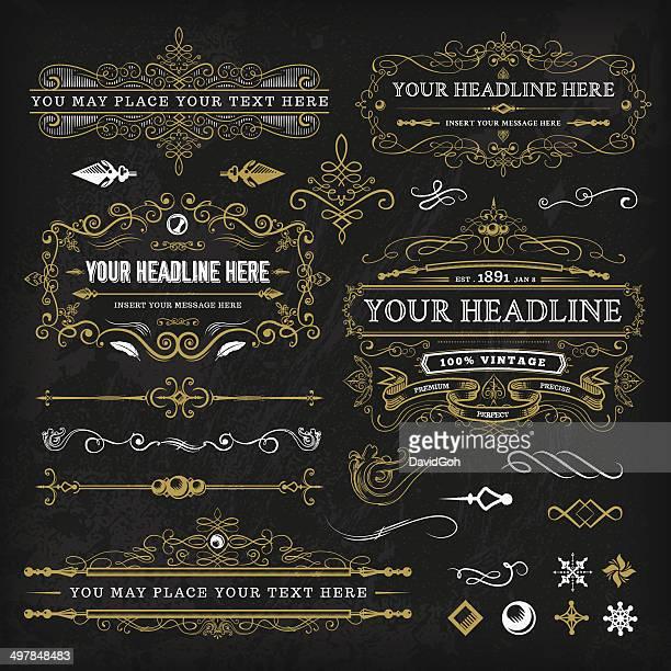 Calligraphic Vintage éléments ensemble
