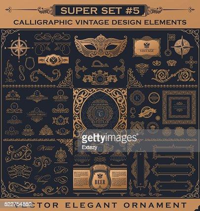Calligraphic vintage elements. Vector baroque set. Design icons : Vector Art