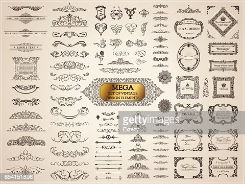 Calligraphic vintage elements. Vector baroque set. Design icons : stock vector
