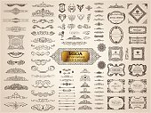 Vintage crest old elements. Calligraphic Design emblems set. Vector flourishes illustration. Border frame royal ornament page divider, decoration menu, card, invitations, labels, Restaurant, Cafe, Hot