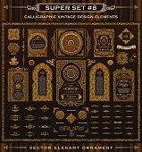 Calligraphic Design emblems set. Vintage crest Gold elements. Vector flourishes illustration. Border frame collection royal ornament page decoration for menu card, invitations, labels, Restaurant, Caf