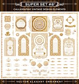 Calligraphic frames and Border set. Vintage Gold vector crest elements.Flourishes illustration cards. Royal ornament page divider, menu, invitations, labels, Restaurant, Cafe, Hotel
