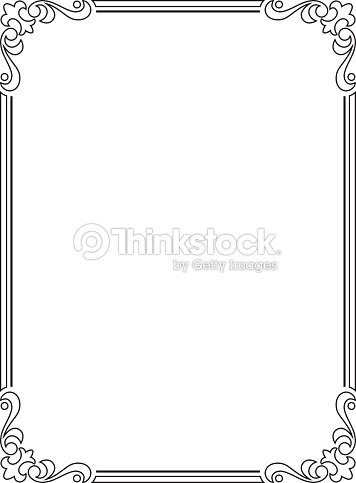 Calligraphy Penmanship Curly Baroque Frame Black stock