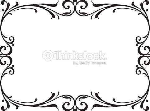 Calligraphy Penmanship Curly Baroque Frame Black Vector Art | Thinkstock