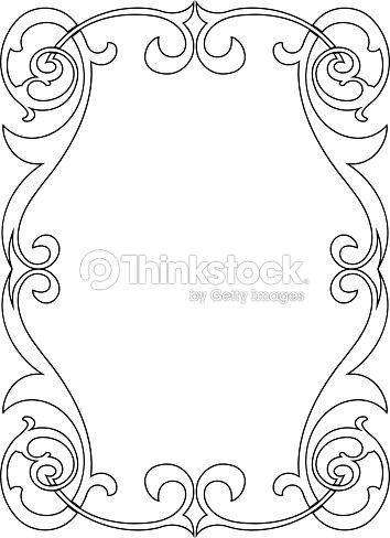 Calligraphy Penmanship Curly Baroque Frame Black Vector Art | Thinkstock