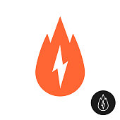 Calorie burn icon. Calories symbol with fire silhouette and lightning bolt symbol.