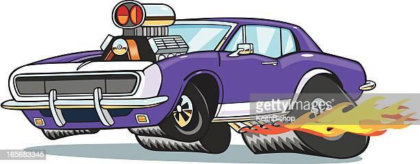 Camaro Muscle Car Pulling Wheelie with Flames - wheelie cartoon
