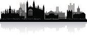 Cambridge England city skyline silhouette vector illustration