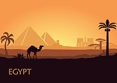 Camel in wild Africa pyramids and Luxor temple landscape background illustration