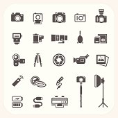 Camera and Accessories icons set, EPS10, Don't use transparency.