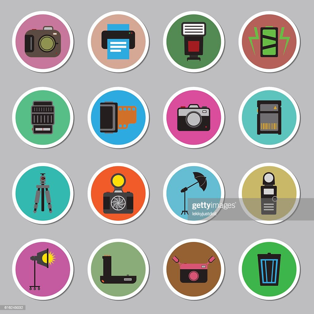 Camera and accessory icon sticker set vector illustration : Vektorgrafik