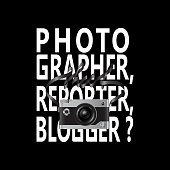 Photographer, reporter, blogger with camera and lettering t-shirt fashion print. Pattern for tshirt and apparel graphics, poster, prints.