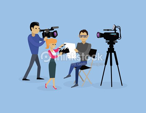 Camera Crew Team People Group Flat Style : stock vector