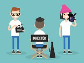 director, cameraman and assistant working on the set. editable flat vector cartoon illustration