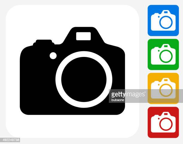 DSLR-Kamera-Icon flache Grafik Design