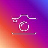 Camera icon in trendy flat style isolated on colored background camera symbol for your web site. Editable Stroke. EPS 10