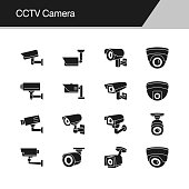 CCTV Camera icons. Design for presentation, graphic design, mobile application, web design, infographics, UI. Vector illustration.
