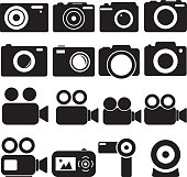 Vector illustration of camera icons.