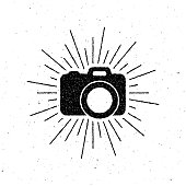 vintage camera label with light rays. vector illustration. letterpress label design