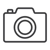 Camera line icon, web and mobile, photo sign vector graphics, a linear pattern on a white background, eps 10.