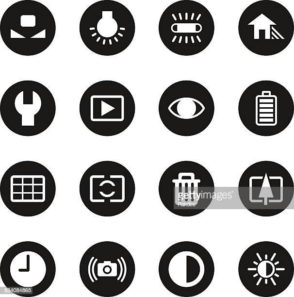 Camera Menu Icons Set 2 - Black Circle Series