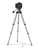 SLR camera on a tripod. Metal construction. Take a photo, movie or video