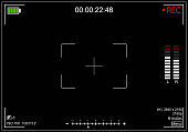 Camera Recording Screen Black Viewfinder Background Card Display View and Focus for Web or App Design. Vector illustration