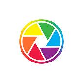 Camera shutter in primary colors spectrum. Camera shutter simple colorful vector icon.
