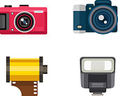 Different photo and video cameras. Different camera set photography isolated symbol photograph digital equipment. Retro technology camera set vintage element sign film collection.