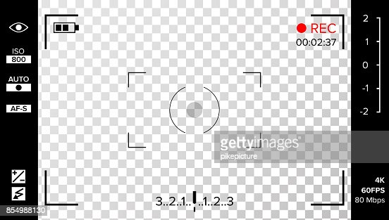 Camera Viewfinder Vector. Photo Or Video Camera Grid With Shooting Settings And Options On Screen. Recording Led Blinked. Realistic Corner Fall Off Background : stock vector